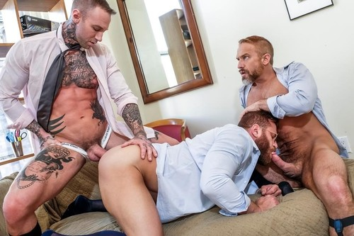 Dirk Caber , Dylan James , Riley Mitchel - Riley Mitchel Services His Bosses Dylan James And Dirk Caber  Lvp31604 Gentlemen 26 Long, Hard Hours, Scene 4 (LucasEntertainment/2019/HD)