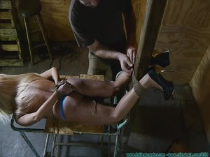 Amanda Foxx Crotchroped clamped Tape Hood Shoe Removal Toe Tied