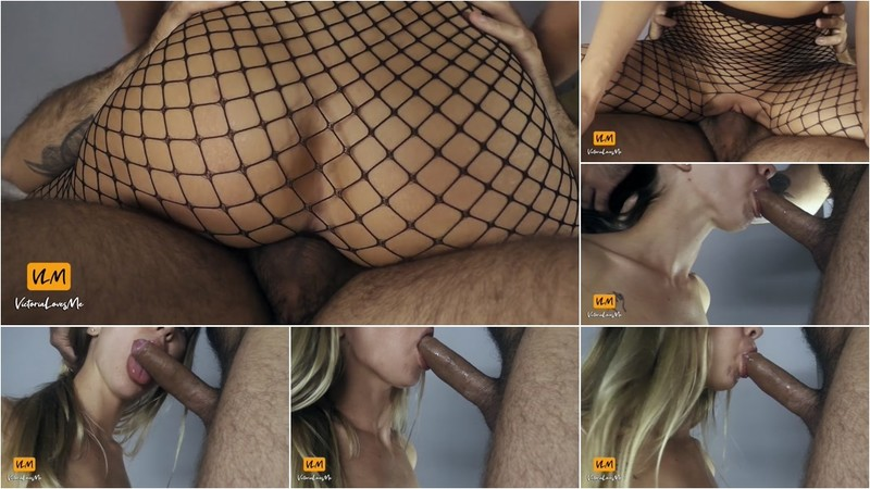 Victorialovesme  Big Ass Girl In Fishnet Riding Dick And Giving Sloppy Blowjob [FullHD 1080P]